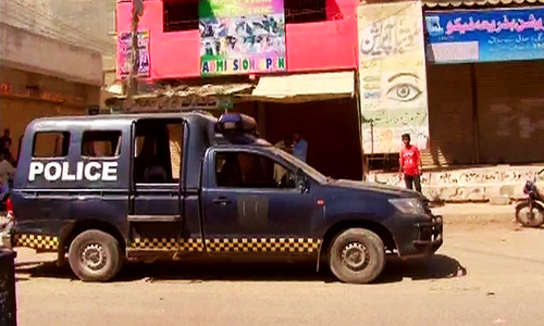 The police van that was attacked. – DawnNews