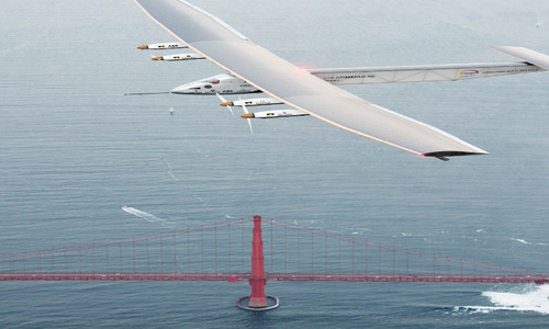 Solar-powered plane lands in California after Pacific crossing