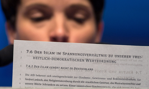Anti-immigrant party says Muslims not welcome in Germany