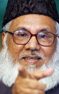 This file photograph taken on January 27, 2003, shows Motiur Rahman Nizami, chief of Bangladesh's Jamaat-e-Islami party as he gestures while speaking to members of the Overseas Correspondents Association Bangladesh (OCAB) in Dhaka. —AFP
