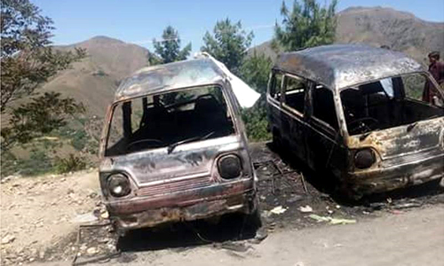 Ambreen's charred body was found in the backseat of a Suzuki van. — DawnNews