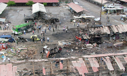 A general view shows a bus station that was targeted as part of multiple bombings that left tens dead. —AFP