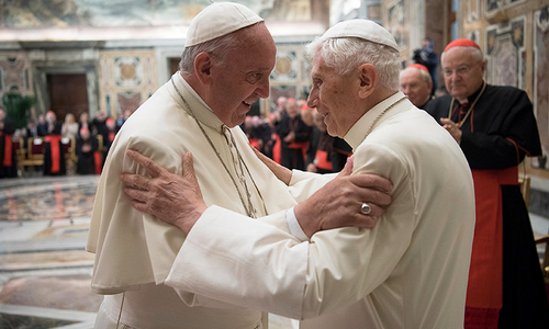 Former pope Benedict makes rare appearance with successor Francis