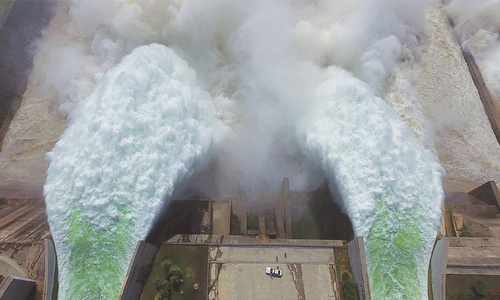 China dam water release captured by drone