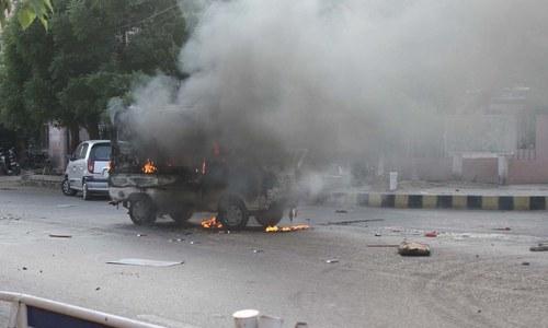 کراچی میں ایم کیو ایم کارکنان کی ہنگامہ آرائی