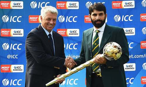 Misbah receives prestigious ICC Test Championship mace in Lahore