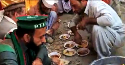 PTI loyalists have breakfast.