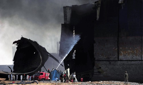 Rescue workers struggle to put out fire at Gadani shipbreaking yard