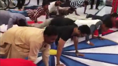 Watch Fahad Mustafa destroy his rivals in this push-up challenge