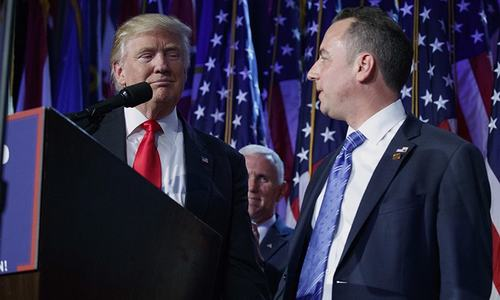 Trump names Priebus, Bannon to senior White House roles