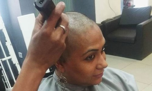 This woman shaved her head so she could donate her hair to cancer patients