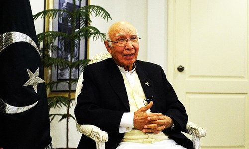 Stop blaming Islamabad, review fragmented approach to peace talks, Aziz tells Kabul