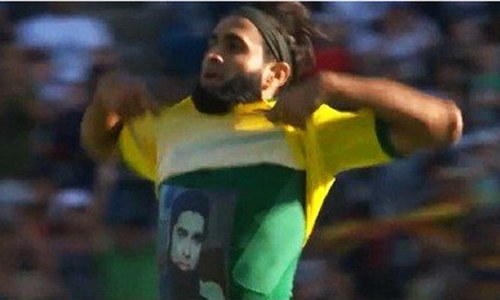 Imran Tahir pays tribute to Junaid Jamshed during match celebration