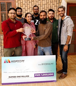 Team SocialChamp with the Momentum cup and winner's cheque