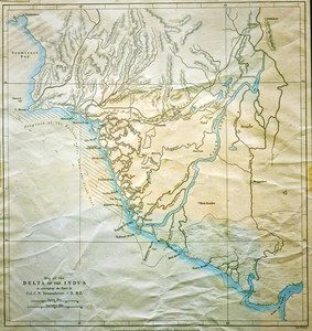 ایڈورڈ ویلر بنایا ہوا انڈس ڈیلٹا کا نقشہ جو، جے میورے نے 1867 میں جرنل آف رائل جیوگرافیکل سوسائٹی میں شائع کروایا— ابوبکر شیخ