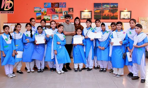 Govt-run girls school holds art exhibition with students' work