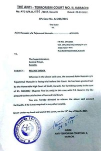 SHC issued a release order for Dr Asim Hussain.─DawnNews