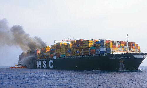 Mega container ship catches fire off Sri Lanka