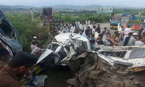 Four killed as 22-wheeler collides with another vehicle near Abbottabad