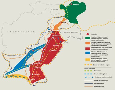 """According to the Long-Term Plan, the core CPEC area includes """"Kashgar, Tumshuq, Atushi and Akto of Kizilsu Kirghiz of Xinjiang"""" from China, and """"most of Islamabad's Capital territory, Punjab, and Sindh, and some areas of Gilgit-Baltistan, Khyber Pukhtunkhwa, and Balochistan"""" from Pakistan."""