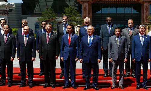 World leaders pose for a photo during the Belt and Road Forum, at the International Conference Center in Yanqi Lake, north of Beijing — AFP