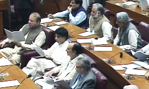 Opposition disrupts president's address to Parliament with slogans of 'Go Nawaz Go'