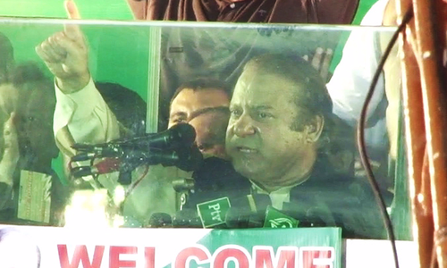 Nawaz Sharif speaks to his supporters at Shahdara in Lahore.
