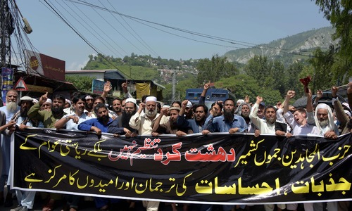 AJK protesters rally to condemn blacklisting of Hizbul Mujahideen by US