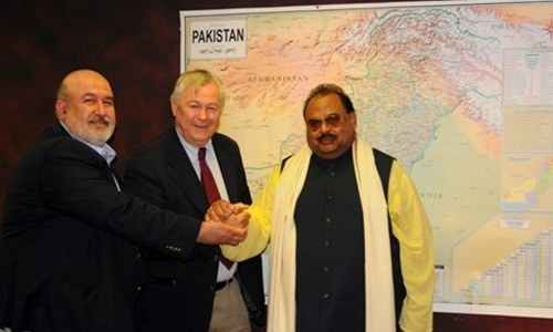 Altaf Hussain meets Khan of Kalat, US Congressman Dana Rohrabacher in London
