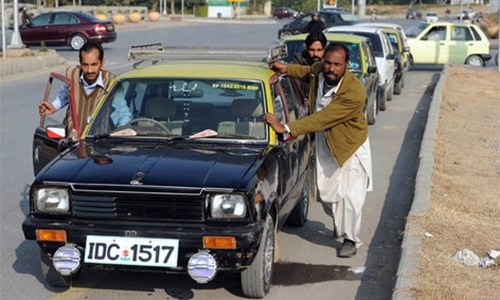 Taxi drivers protest against private cab companies in Islamabad