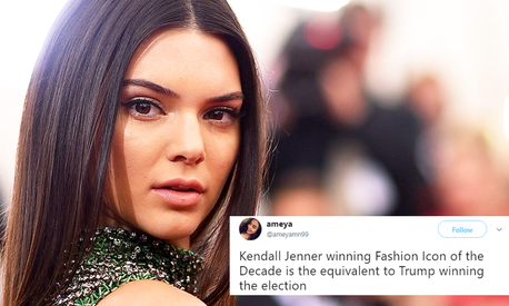 Kendall Jenner gets named fashion icon of the decade, Twitter calls it 'tragic'