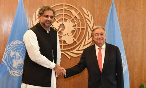PM Abbasi shares dossier on Indian atrocities in IHK with UN chief