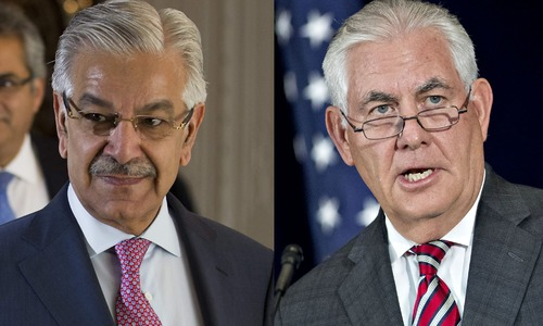 FM Asif meets Tillerson in Washington today