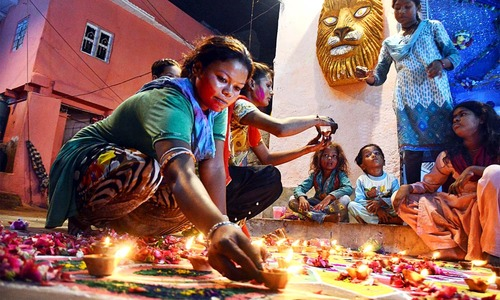 In pictures: Pakistan's Hindu community celebrates Diwali, the festival of lights
