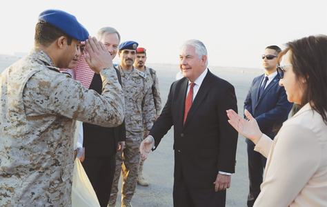 Tillerson lands in Riyadh at start of Gulf, South Asia tour