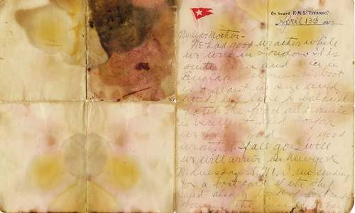 Letter penned a day before Titanic sank sold at UK auction