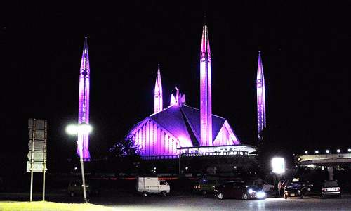 Faisal Mosque illuminated pink in solidarity with breast cancer patients
