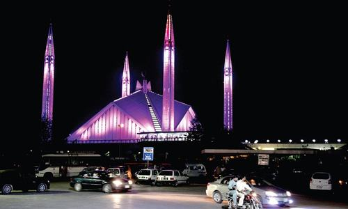 Faisal Mosque goes pink