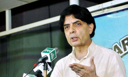 Nisar seeks action against Islamabad protesters