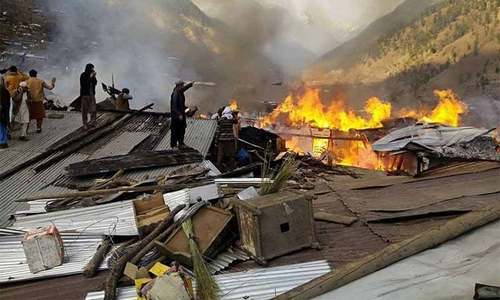 Inferno destroys village in Shangla district, 20 injured