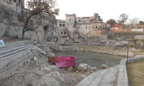 Indian pilgrims disappointed by dry pond at Katas Raj