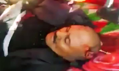 An image grab taken from a video handed out by the Yemen's Houthi rebels on December 4, 2017, reportedly shows the body of former Yemeni president Ali Abdullah Saleh being transported at an undisclosed location in Yemen. —AFP