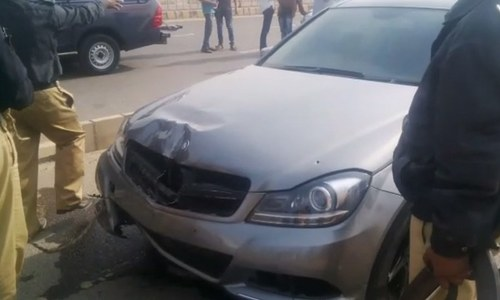 The victims' car after the incident.
