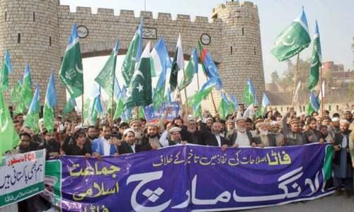 JI marches towards Islamabad to seek merger of Fata with Khyber Pakhtunkhwa