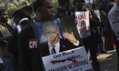 اسرائیلی وزیر اعظم کا دورہ ہندوستان، کہیں خیر مقدم، کہیں احتجاج