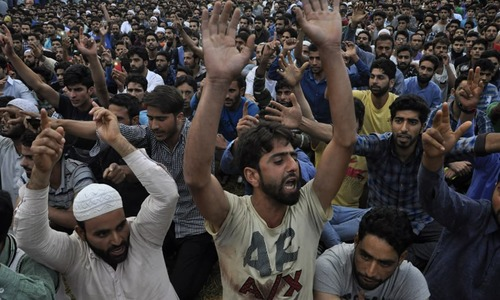 Crowds mourn the death of Burhan Wani at his funeral in July 2016 | Syed Shahriyar