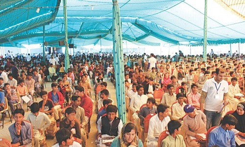 Several thousand Thari students turn up to take education standard test