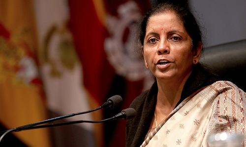 Indian defence minister Nirmala Sitharaman briefs media about suspected militant attack at Sunjwan Army camp in Jammu on Monday. — AFP