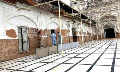 Conservation work starts at Mahabat Khan mosque
