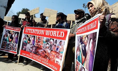 Pellet gun victims stage protest in Srinagar